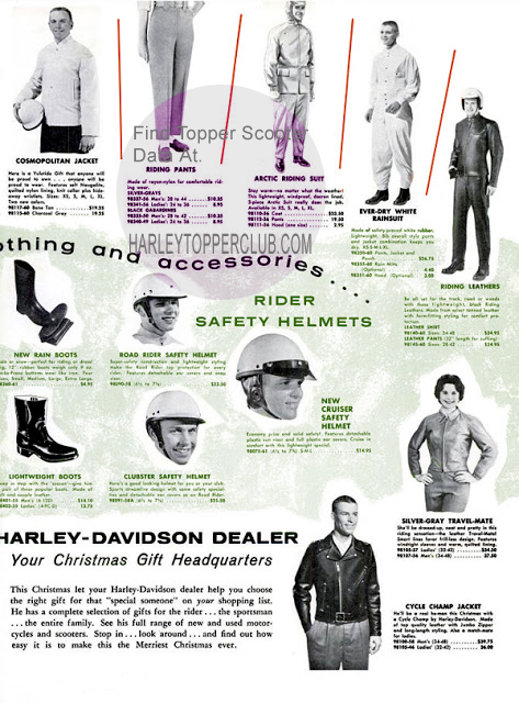 1960 Harley Accessory ad for clothes and boots and helmets