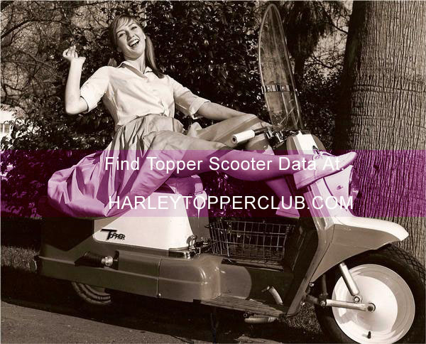 Harley Topper girl on scooter with accessory basket and rear bumper badge