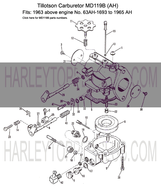 Harley Topper Carburetor MD119B fits Topper AH from 1963 above engine No.63AH-1693 to 1965
