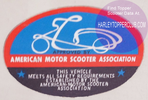 American Motor Scooter sticker for the harley topper