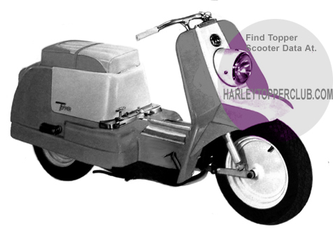 Picture of a 1961 Harley Topper with jiffystand leg on rightside.