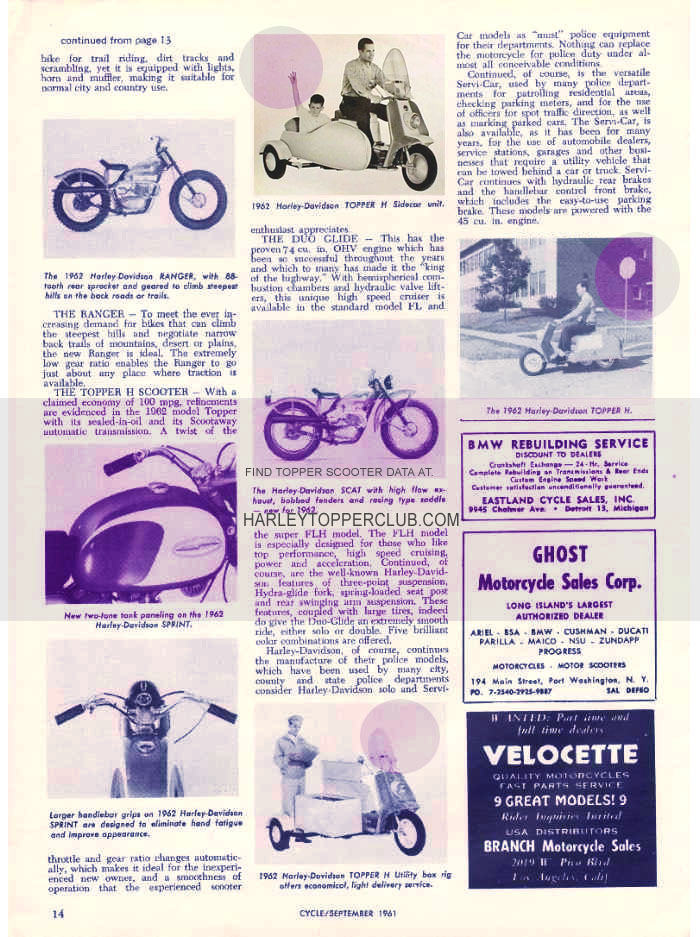 1961 Harley Topper sidecar ad for the upcoming 1962 model year.
