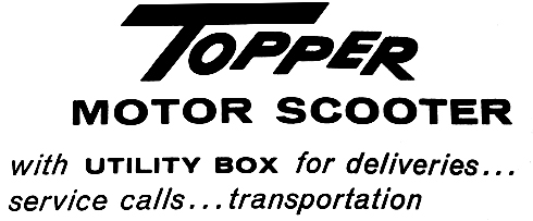 Topper motor scooter with utility box for deliveries service calls transportation