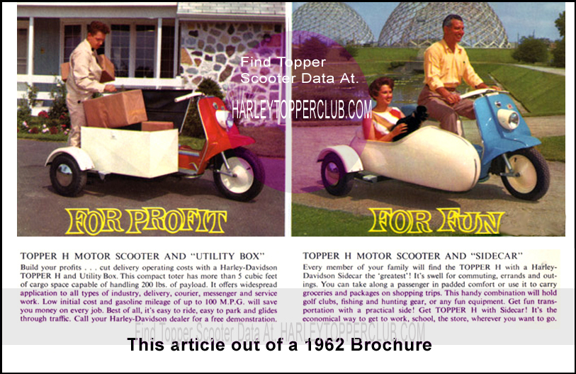 1962 Harley Topper sidecar and utilitycar article brochure